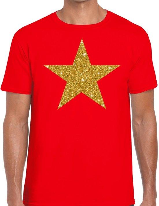 Gouden Ster glitter fun t-shirt rood heren - heren shirt Gouden Ster M