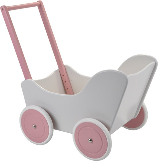 Houten poppenwagen Little Angel white