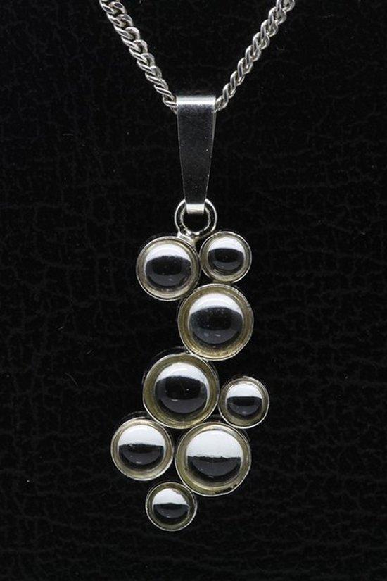 Zilveren Design rond - 8 Swarovski kristallen ketting hanger