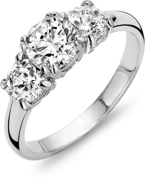 Silventi 943284390-54 Zilveren ring - ronde zirkonia Ø 6 en 5 mm - maat 54 - zilverkleurig