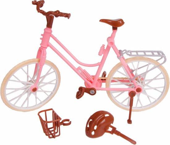 Roze fiets voor Barbie of Ken met mandje en helm