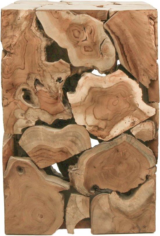 HSM Collection Bijzettafel Mozaiek - 30x30 cm  -teak