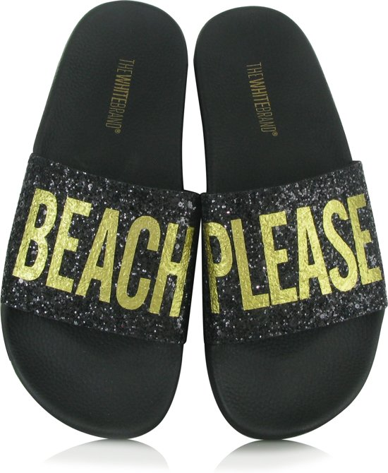 The White Brand - Glitter Beach Please - Badslippers - Dames - Maat 40 - Zwart - Black
