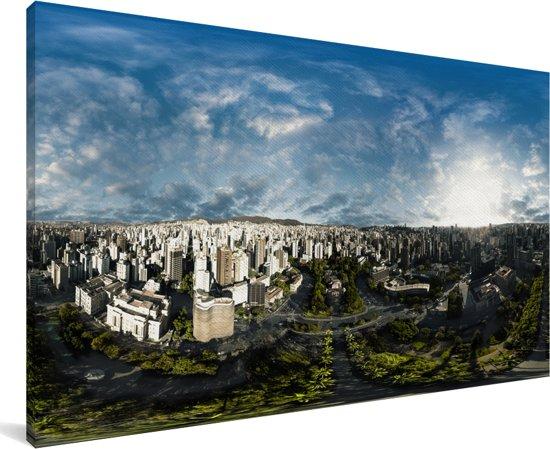 Panorama vanaf het vrijheidsplein over Belo Horizonte in Brazilië Canvas 80x40 cm - Foto print op Canvas schilderij (Wanddecoratie woonkamer / slaapkamer)