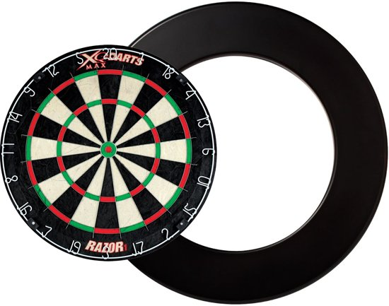 Dragon darts - XQ Max Razor 1 PRO - dartbord - inclusief - dartbord surround ring - zwart - dartbord bescherm ring