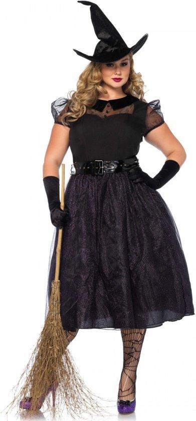 3d2fde585d81cf Heks Halloween - Zwart jurk met glitters - maat 46