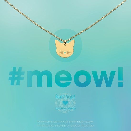Heart to Get necklace cat, gold plated, #meow