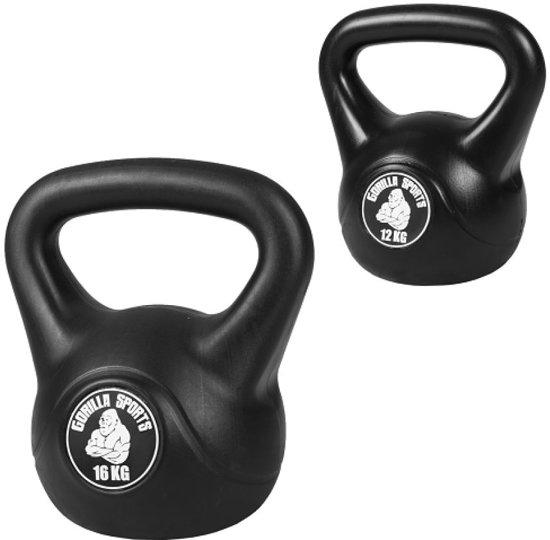 bol com gorilla sports voordeelset kettlebells kunststof 12 en 16 kggorilla sports voordeelset kettlebells kunststof 12 en 16 kg