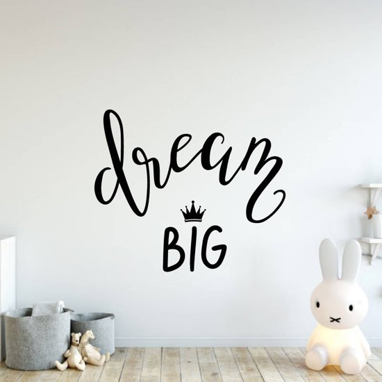 Muursticker Dream Big -  Lichtbruin -  140 x 118 cm  - Muursticker4Sale