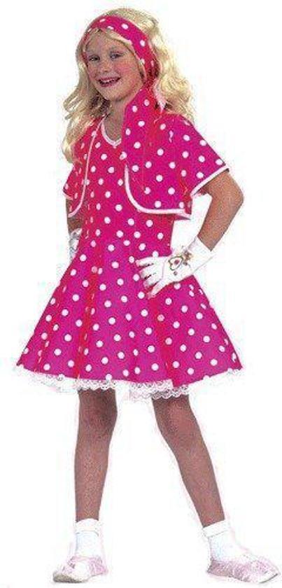 Roze fifties jurkje voor meisjes 128