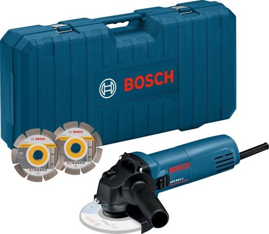 BOSCH PROFESSIONAL Haakse Slijpmachine - GWS 850c 125 mm - Incl. Twee Diamantschijven