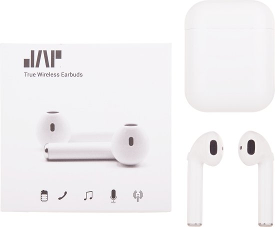 JAP Sounds AP12 - Inclusief silicone beschermhoes - True Wireless Earbuds - Draadloze oordopjes - Wit