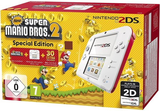 Nintendo 2DS - New Super Mario Bros. 2 - Limited Edition - Wit/Rood