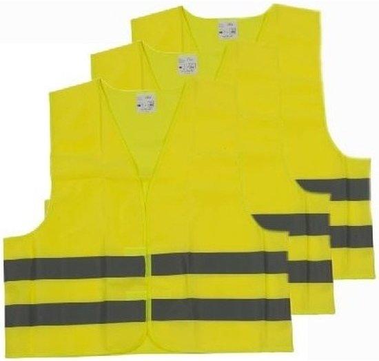 3x Veiligheidsvesten/hesjes geel voor volwassenen