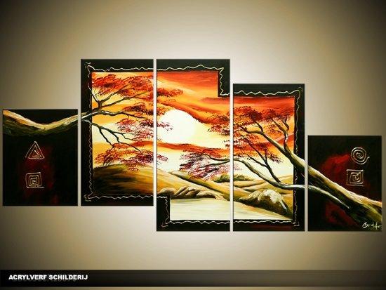 Acryl Schilderij Natuur | Bruin, Oranje, Geel | 150x70cm 5Luik Handgeschilderd