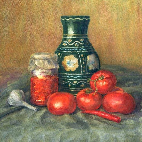 Schilderij - Aquarel stilleven (Print op canvas)