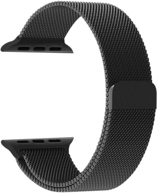 Milanees Bandje Zwart voor Apple Watch 38mm - Milanese RVS Armband Black voor iWatch 38mm