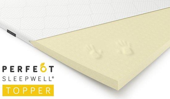 Sleepwell© Topper - Traagschuim Topdek matras - 6cm Hoog - 90x200cm - Wasbare Hoes & Aloë Vera