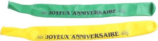 Amscan Ballonnen Joyeux Anniversaire 120 Cm Groen/geel 2 Stuks