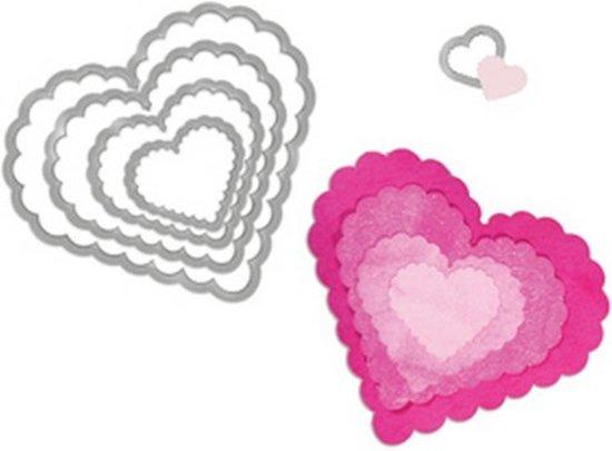 Sizzix Framelits Die -  Hearts, Scallop 5PK 657562 Pete Hughes