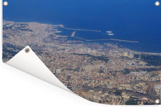 Luchtfoto van de stad Algiers gelegen in Algerije Tuinposter 180x120 cm - Tuindoek / Buitencanvas / Schilderijen voor buiten (tuin decoratie) XXL / Groot formaat!