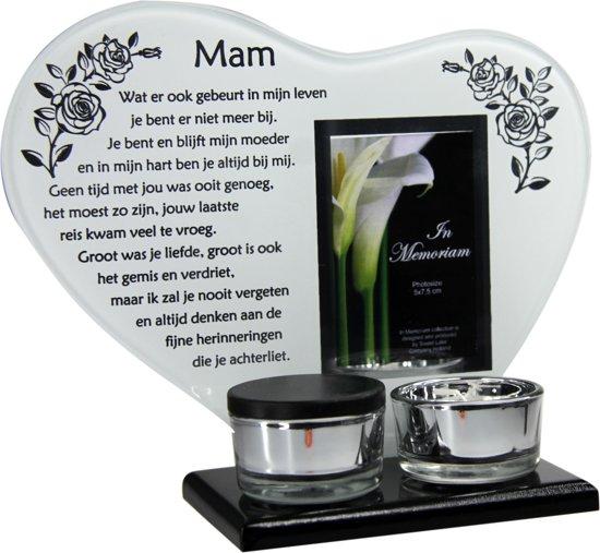 Waxinehouder In Memoriam Overleden Glas Hart Met Mini Urn Gedicht Mam