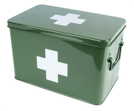 Medicine storage box metal green w. white cross L