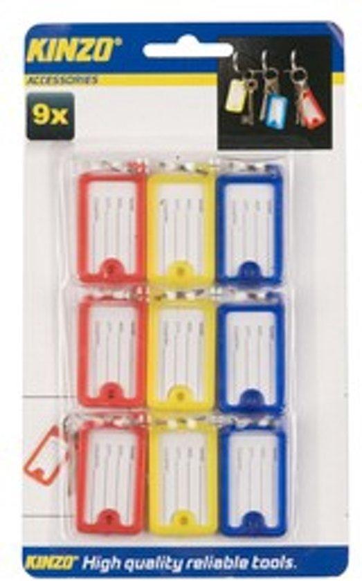 Sleutelhanger | 9 Stuks 3 Kleuren | Naamplaatje Key Rings / Keyring / Classic Sleutelhanger / 220 x 20 x 130 mm