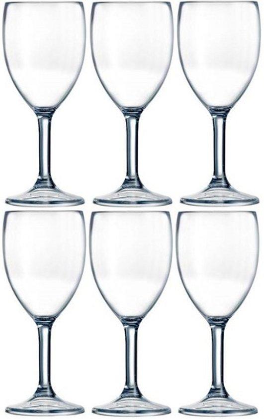 6x Arcoroc Outdoor Perfect wijnglas SAN hard kunststof 300 ml - Onbreekbare camping/picknick glazen
