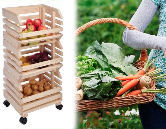 Basic groenterek fruit en groente bakken for Boeken opbergsysteem