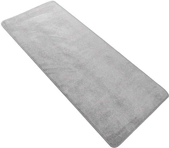 Moderne effen loper Nasty - zilver 80x300 cm
