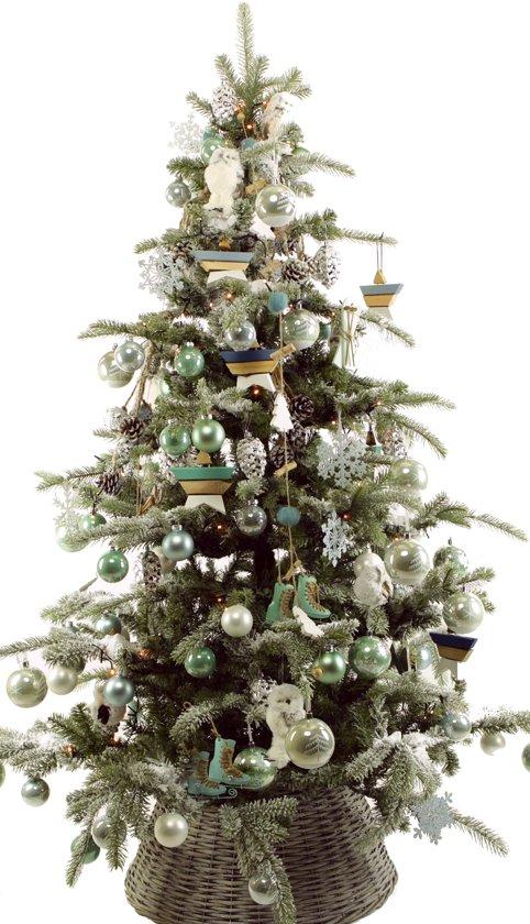 versierde kerstboom decotrees frozen style deluxe 180 cm hoog met verlichting