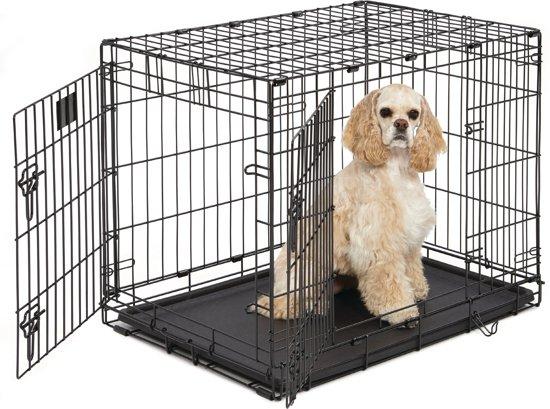 Hondenbench 2 Deurs - Zwart - 76 x 46 x 51 cm - inclusief passed vetbed