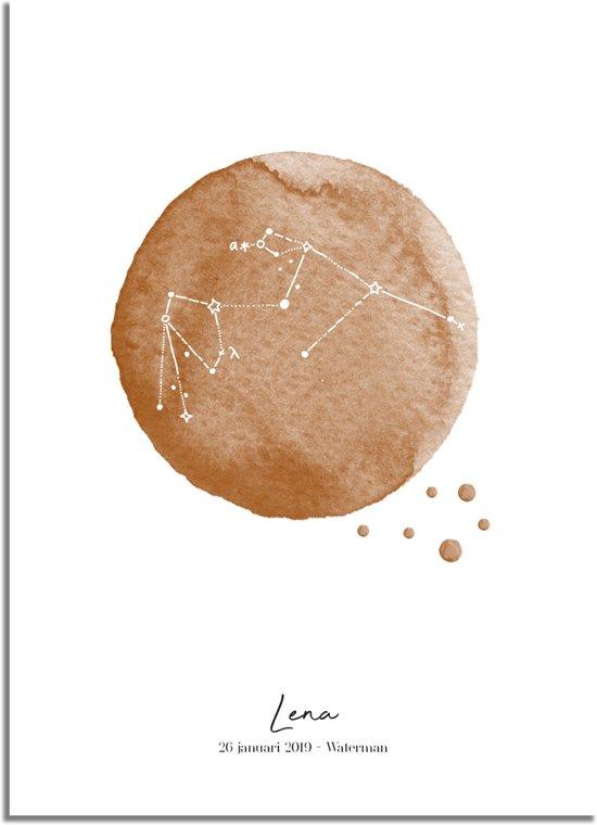 DesignClaud Geboorteposter Sterrenbeeld Waterman – Bruin Kraamcadeau A2 poster zonder fotolijst