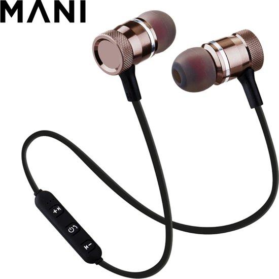 MANI Bluetooth In-ear Draadloze Oordopjes Z-71  Headset   Oordopjes   Oortjes   Hoofdtelefoon   Oortelefoon   Headphones   Geschikt voor Hardloop & Sport   Draadloos   Wireless bereik tot 10meter - zwart/goud