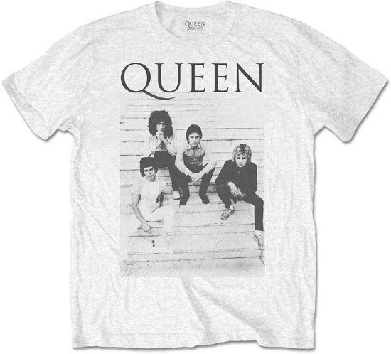 Queen - Stairs heren unisex T-shirt wit - XL