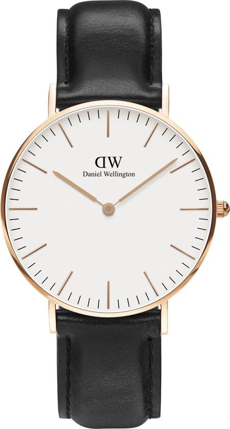 Daniel Wellington Classic Sheffield - Horloge - Leer - Zwart - Ø 36 mm