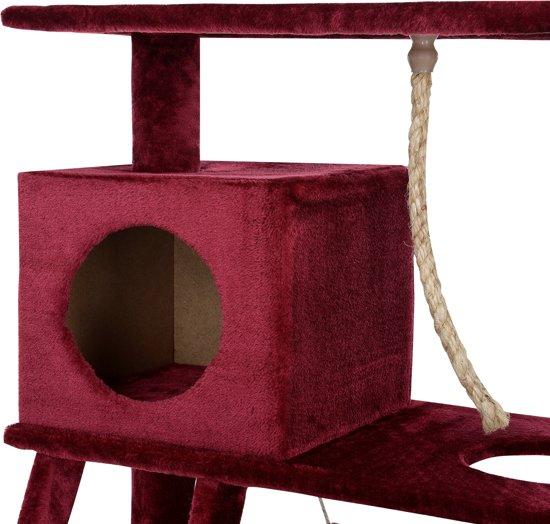 [en.casa]® Krabpaal - krabmeubel - 70x35x141cm - Rood