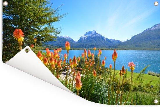 Kleurrijke bloemen voor het landschap van het Nationaal park Nahuel Huapi in Argentinië Tuinposter 180x120 cm - Tuindoek / Buitencanvas / Schilderijen voor buiten (tuin decoratie) XXL / Groot formaat!