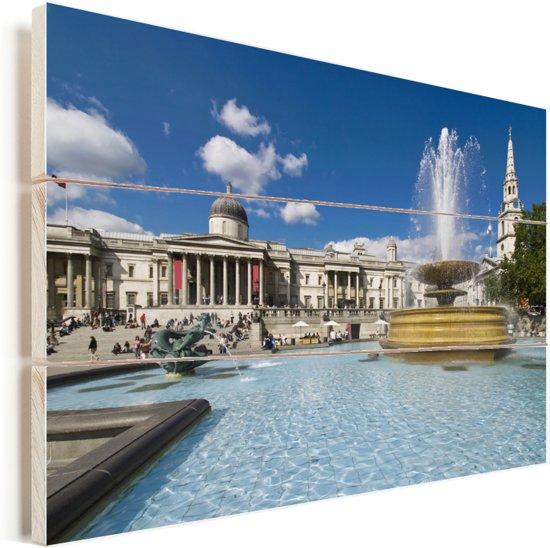 Het Trafalgar Square in Londen Vurenhout met planken 60x40 cm - Foto print op Hout (Wanddecoratie)
