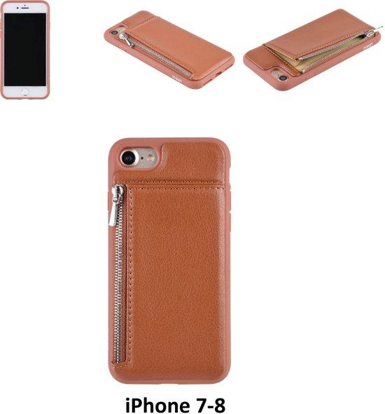 Apple Bruin pasjeshouder Backcover hoesje voor iPhone 7-8
