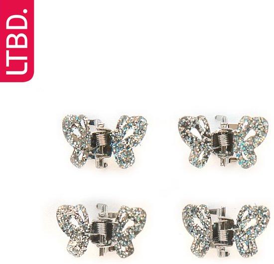LTBD Klem klein vlinder met glitters 4 stuks
