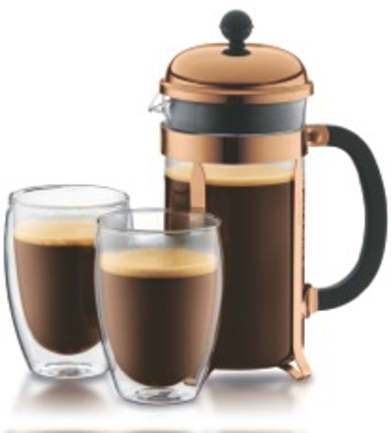 Bodum Chambord Set Cafetière koper - 8 kops - 1.0l met 2 Pavina dubbelwandige glazen - 0.35l in Tremelo
