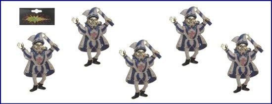 5x Broche prins carnaval blauw/wit