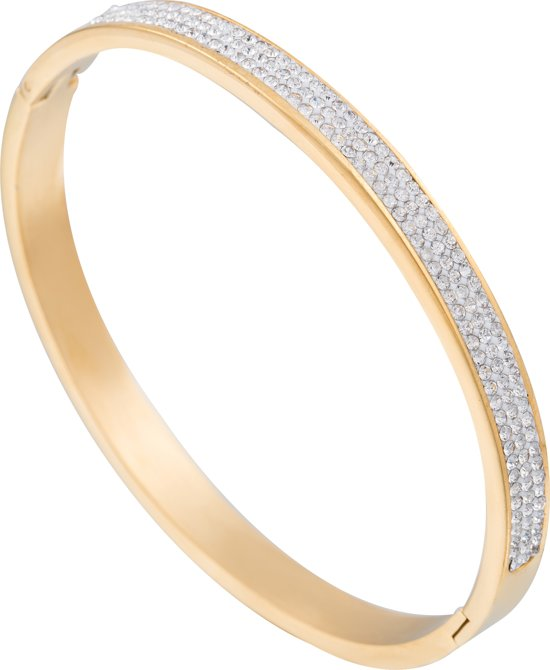 d59c382fb22 Emparus - Stalen Armband Bangle met Zirkonia Diamanten - Gold Plated