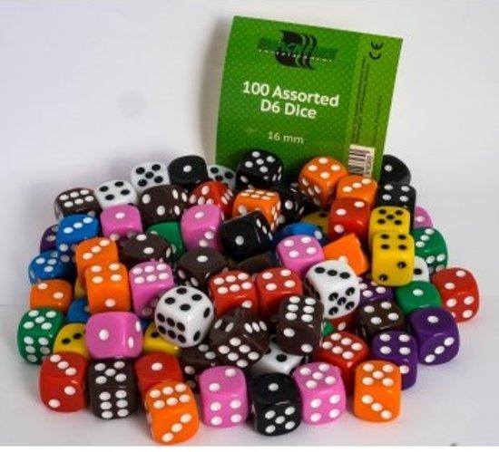 Afbeelding van het spel Dobbelstenen 16mm - Assorti (100 stuks)