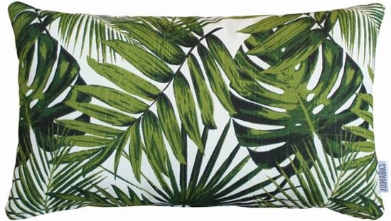 Bol kussen palm monstera blad groen wit cm