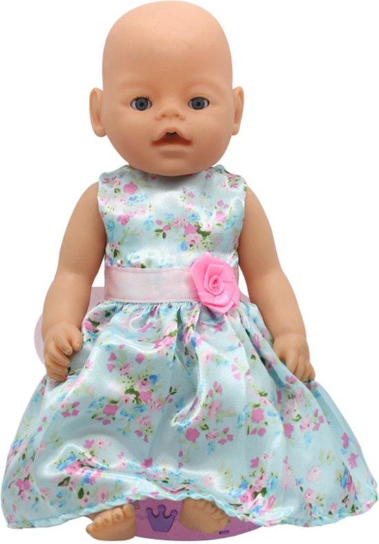 c880a7867ca48c Poppenkleding voor Baby Born pop - Turquoise jurk met bloemen en roze roosje