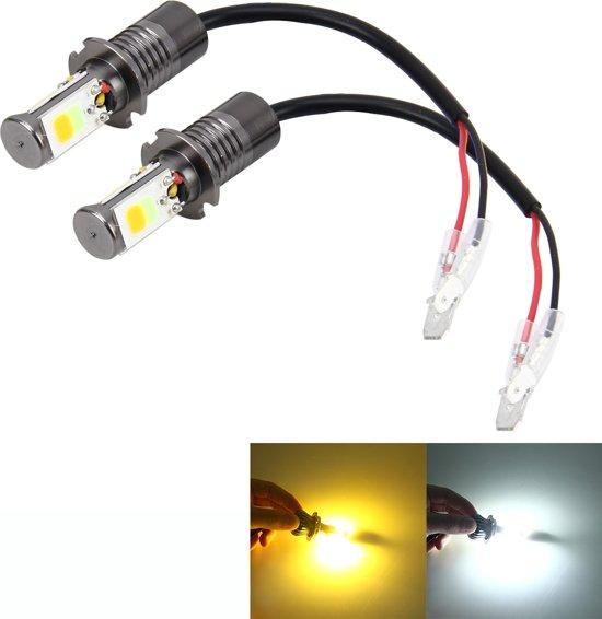 2 STKS H3 6 W 400LM Auto LED driekant COB Chips Lamp Mistlamp Lamp Vervanging, (Wit Licht + Geel Licht)