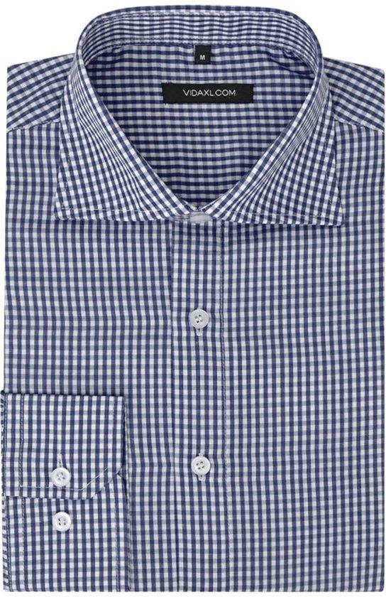 Maat Overhemd Heren.Bol Com Vidaxl Zakelijk Overhemd Heren Wit En Marineblauw Geblokt